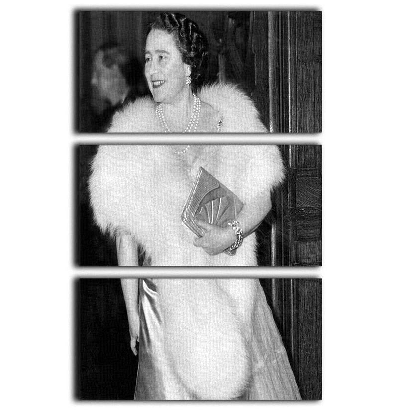The Queen Mother on a night out at the Coliseum 3 Split Panel Canvas Print - Canvas Art Rocks - 1