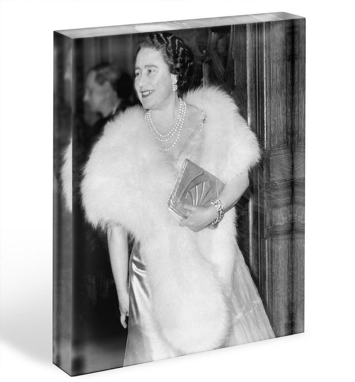 The Queen Mother on a night out at the Coliseum Acrylic Block