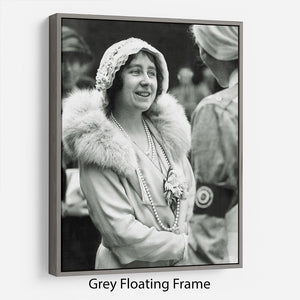 The Queen Mother opening a new hospital extension Floating Frame Canvas