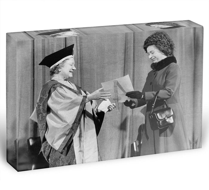 The Queen Mother receiving Honorary Doctorate by the Queen Acrylic Block