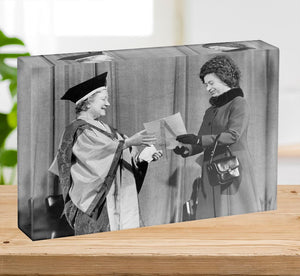 The Queen Mother receiving Honorary Doctorate by the Queen Acrylic Block - Canvas Art Rocks - 2