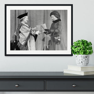 The Queen Mother receiving Honorary Doctorate by the Queen Framed Print - Canvas Art Rocks - 1