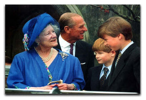 The Queen Mother with Prince William and Prince Harry Canvas Print or Poster  - Canvas Art Rocks - 1