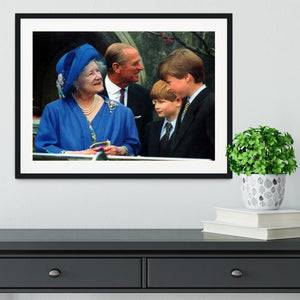 The Queen Mother with Prince William and Prince Harry Framed Print - Canvas Art Rocks - 1