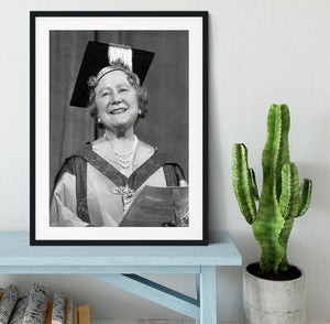 The Queen Mother with her honorary music degree Framed Print - Canvas Art Rocks - 1