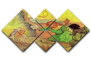 The Raising of Lazarus after Rembrandt by Van Gogh 4 Square Multi Panel Canvas  - Canvas Art Rocks - 1