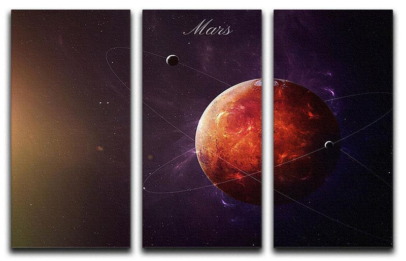 The Red Planet Mars 3 Split Panel Canvas Print - Canvas Art Rocks - 1