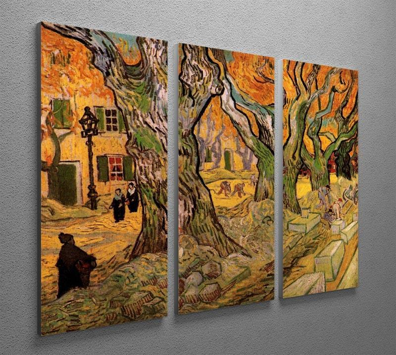 The Road Menders by Van Gogh 3 Split Panel Canvas Print - Canvas Art Rocks - 4