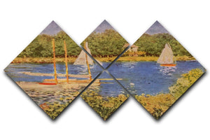 The Seine at Argenteuil Basin by Monet 4 Square Multi Panel Canvas  - Canvas Art Rocks - 1