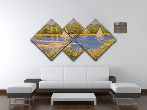 The Seine at Argenteuil Basin by Monet 4 Square Multi Panel Canvas - Canvas Art Rocks - 3