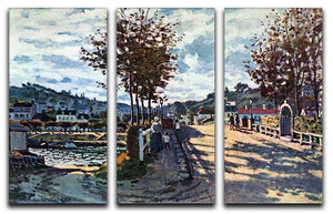 The Seine at Bougival by Monet Split Panel Canvas Print - Canvas Art Rocks - 4