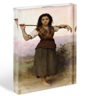 The Shepherdess By Bouguereau Acrylic Block - Canvas Art Rocks - 1
