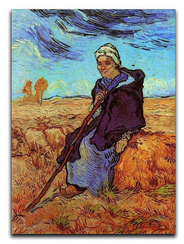 The Shepherdess after Millet by Van Gogh Canvas Print or Poster