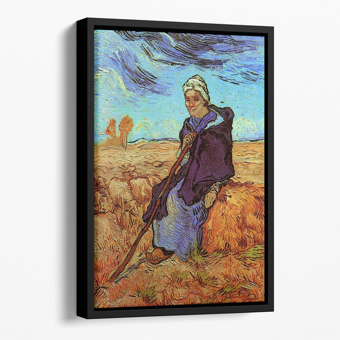 The Shepherdess after Millet by Van Gogh Floating Framed Canvas