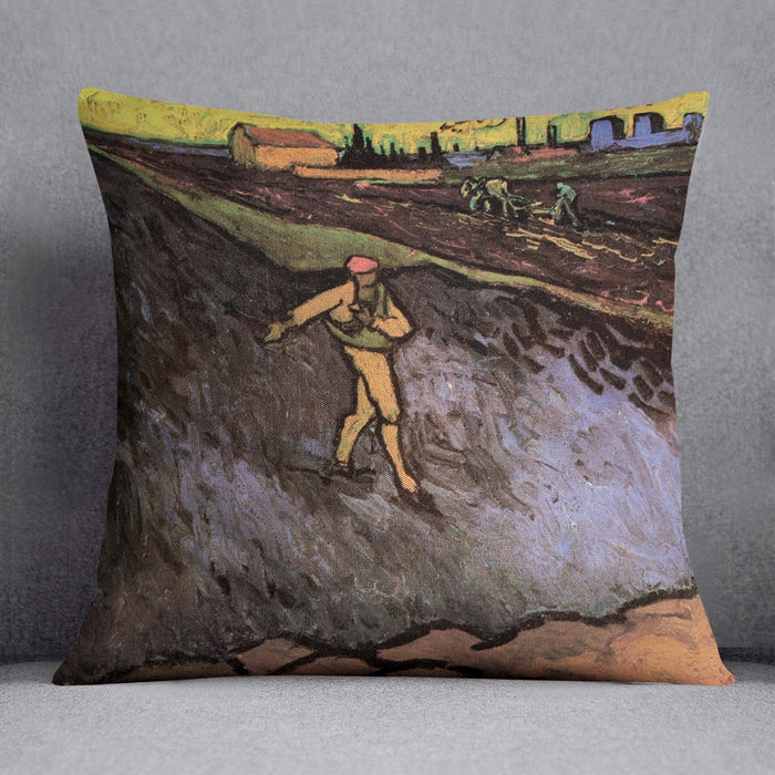 The Sower with the outskirts of Arles in the Background by Van Gogh Throw Pillow