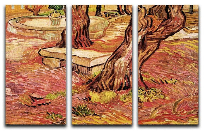 The Stone Bench in the Garden of Saint-Paul Hospital by Van Gogh 3 Split Panel Canvas Print