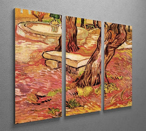 The Stone Bench in the Garden of Saint-Paul Hospital by Van Gogh 3 Split Panel Canvas Print - Canvas Art Rocks - 4