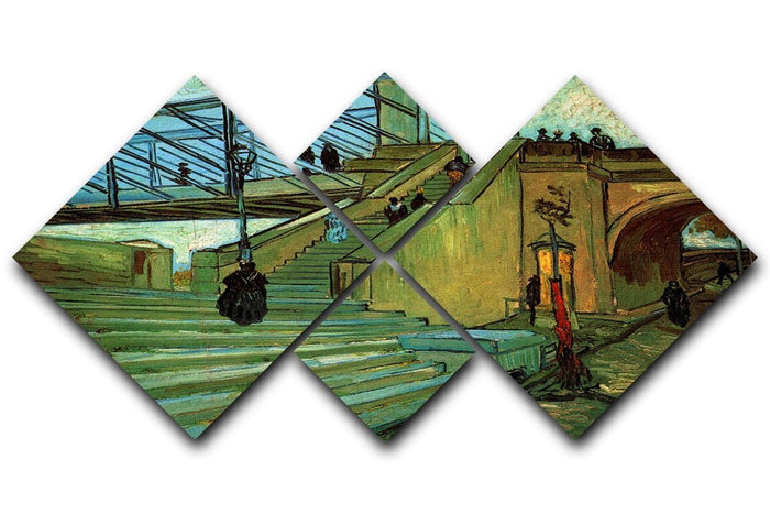 The Trinquetaille Bridge by Van Gogh 4 Square Multi Panel Canvas