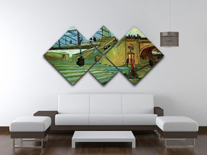 The Trinquetaille Bridge by Van Gogh 4 Square Multi Panel Canvas - Canvas Art Rocks - 3