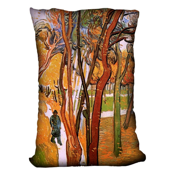 The Walk in Falling Leaves by Van Gogh Throw Pillow