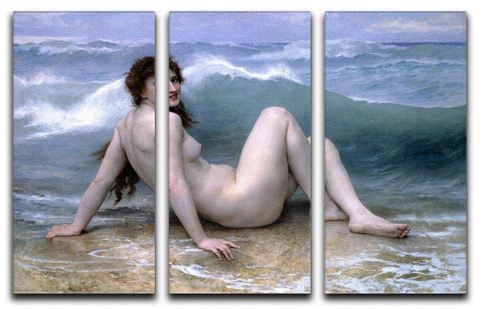 The Wave By Bouguereau 3 Split Panel Canvas Print