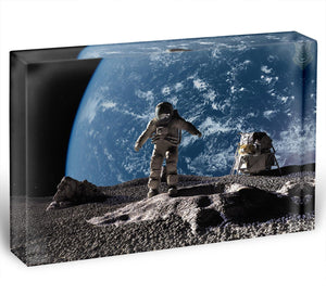 The astronaut on a background of a planet Acrylic Block - Canvas Art Rocks - 1