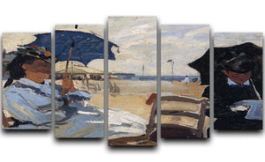 The beach a Trouville by Monet 5 Split Panel Canvas  - Canvas Art Rocks - 1