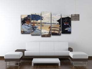 The beach a Trouville by Monet 5 Split Panel Canvas - Canvas Art Rocks - 3