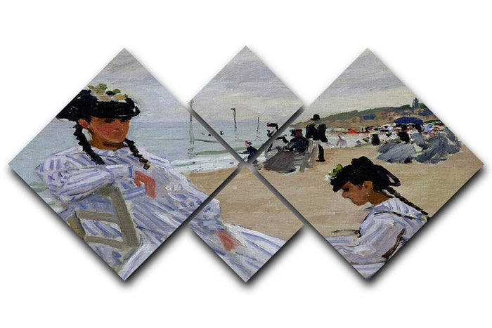 The beach at Trouville by Monet 4 Square Multi Panel Canvas