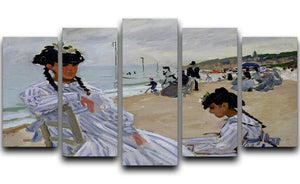 The beach at Trouville by Monet 5 Split Panel Canvas  - Canvas Art Rocks - 1
