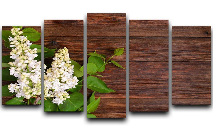 The beautiful lilac on a wooden background 5 Split Panel Canvas
