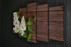The beautiful lilac on a wooden background 5 Split Panel Canvas  - Canvas Art Rocks - 2