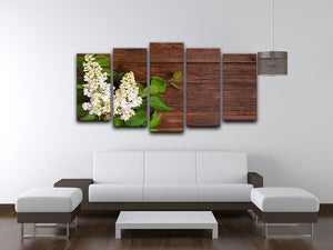 The beautiful lilac on a wooden background 5 Split Panel Canvas  - Canvas Art Rocks - 3
