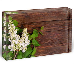 The beautiful lilac on a wooden background Acrylic Block - Canvas Art Rocks - 1
