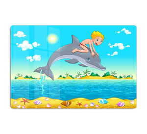 The boy and the dolphin HD Metal Print