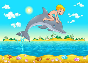 The boy and the dolphin Wall Mural Wallpaper - Canvas Art Rocks - 1
