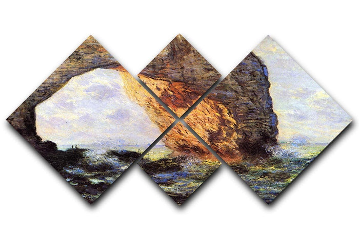 The cliff at Etretat by Monet 4 Square Multi Panel Canvas