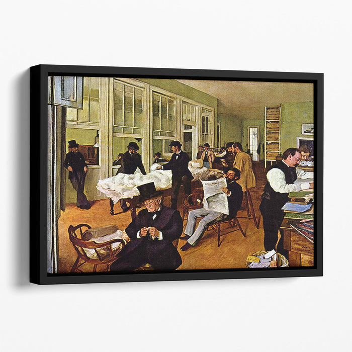The cotton office in New Orleans by Degas Floating Framed Canvas