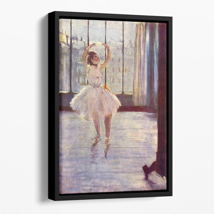 The dancer at the photographer by Degas Floating Framed Canvas