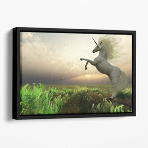 The fabled Unicorn Stag Floating Framed Canvas