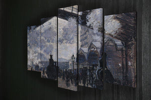 The gare St Lazare 2 by Monet 5 Split Panel Canvas - Canvas Art Rocks - 2