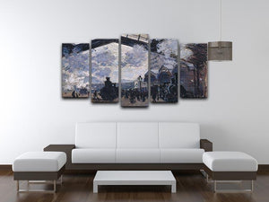 The gare St Lazare 2 by Monet 5 Split Panel Canvas - Canvas Art Rocks - 3