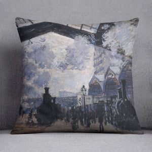 The gare St Lazare 2 by Monet Throw Pillow
