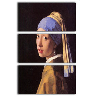 The girl with the pearl earring by Vermeer 3 Split Panel Canvas Print - Canvas Art Rocks - 1