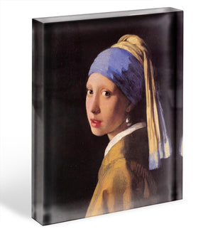 The girl with the pearl earring by Vermeer Acrylic Block - Canvas Art Rocks - 1