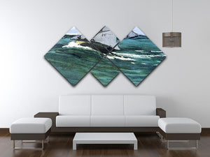The green wave by Monet 4 Square Multi Panel Canvas - Canvas Art Rocks - 3