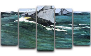 The green wave by Monet 5 Split Panel Canvas  - Canvas Art Rocks - 1