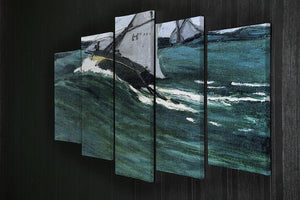 The green wave by Monet 5 Split Panel Canvas - Canvas Art Rocks - 2