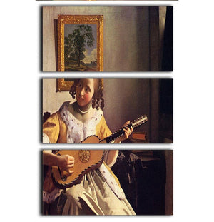 The guitar player by Vermeer 3 Split Panel Canvas Print - Canvas Art Rocks - 1