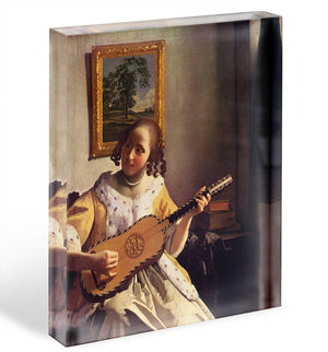 The guitar player by Vermeer Acrylic Block - Canvas Art Rocks - 1